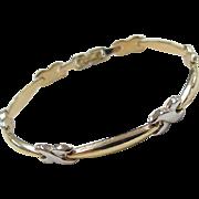 """Vintage 14k Gold Two-Tone Bracelet ~ 7 1/4"""""""