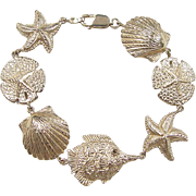 Vintage 14k Gold Big Nautical Bracelet ~ 7 1/2""
