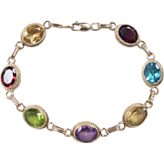 Vintage 14k Gold Colorful Gemstone Bracelet ~ 7 1/2""