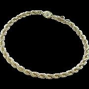 """Vintage 14k Gold Rope Bracelet ~ 7"""""""