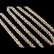 "Vintage 14k Gold Diamond Cut Rope Chain ~ 24"" ~ 15.3 Grams"