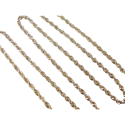 "Vintage 14k Gold Diamond Cut Rope Chain ~ 24"" ~ 15.3 Grams"