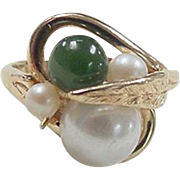 Vintage 14k Gold Jade and Cultured Pearl Ring