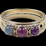 Vintage 14k Gold Star Corundum Ring
