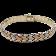 """Vintage 10k Gold Tri-Color Bracelet ~ 7 1/4"""""""