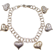 "Vintage 10k Gold Two-Tone Heart Charm Bracelet ~ 7 1/2"""