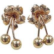 Vintage 14k Gold Flower Earrings