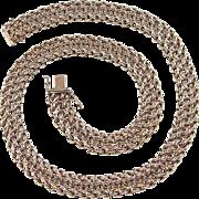 "Vintage 14k Gold Wide Heavy Necklace ~ 17"" ~ 72.4 Grams"