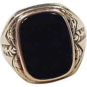 Vintage 10k Gold Gents Onyx Ring