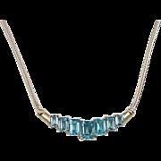"""Vintage 14k Gold Blue Topaz Necklace ~ 17"""""""