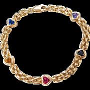 """Vintage 14k Gold Gemstone Heart Bracelet ~ 7"""""""
