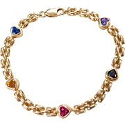 Vintage 14k Gold Gemstone Heart Bracelet ~ 7""