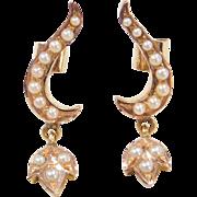 Vintage 22k Gold Seed Pearl Earrings