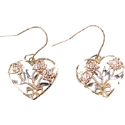 Vintage 10k Gold Tri-Color Heart Earrings with Rose Flowers and Bow