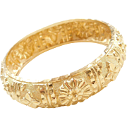 Vintage 22k Baht Gold Wide Bangle Bracelet 7""
