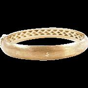 """Vintage 18k Gold Textured Hinged Bangle Bracelet ~ 7"""""""