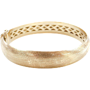 Vintage 18k Gold Wide Textured Hinged Bangle Bracelet ~ 7""