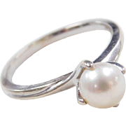Vintage 14k White Gold Cultured Pearl Ring