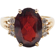 Vintage 14k Gold Garnet and Diamond Ring