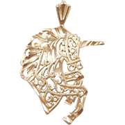 Vintage 14k Gold Filigree Unicorn Charm / Pendant