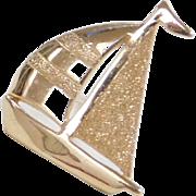 Vintage 14k Gold Sailboat Tie tack / Pin