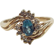 Vintage 14k Gold Blue Spinel and Diamond Ring