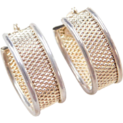 Vintage 14k Gold and Sterling Silver Hoop Earrings ~ Two-Tone