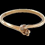Vintage 10k Gold Diamond Bypass Ring