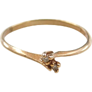 Vintage 10k Gold Diamond Bypass Ring