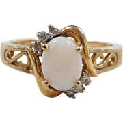 Vintage 10k Gold Two-Tone Opal and Diamond Ring