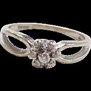Vintage 10k White Gold Diamond Flower Ring