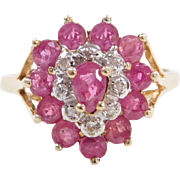 Vintage 10k Gold Ruby and Diamond Heart Ring Two-Tone
