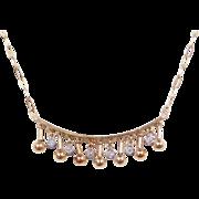 "Vintage 14k Gold Two-Tone Diamond Necklace ~ 15 1/2"""