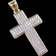 Vintage 10k Gold Two-Tone Faux Diamond Cross Pendant