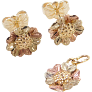 Vintage 10k Gold Tri-Color Flower Stud Earrings and Pendant / Charm Black Hills Gold