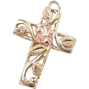 Vintage 10k Gold Two-Tone Cross Charm with Rose Gold Flower and Leaf Design