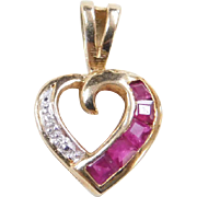 Vintage 10k Gold Two-Tone Diamond and Natural Ruby Heart Pendant