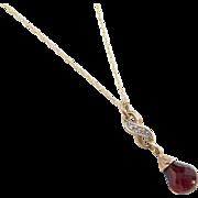 "Vintage 10k Gold Garnet and Diamond Infinity Necklace ~ 18"""