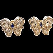Vintage 10k Gold Sapphire Butterfly Stud Earrings