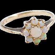 Vintage 10k Gold Opal Flower Ring