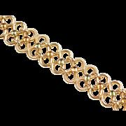 """Vintage 14k Gold Citrine and Peridot Wide Link Bracelet ~ 7 1/4"""""""