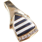 Vintage 14k Gold Onyx, Mother of Pearl and Diamond Pendant