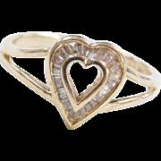 Vintage 14k Gold Diamond Heart Ring