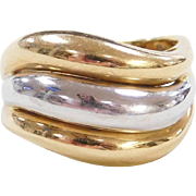 Vintage 18k Gold Two-Tone Dome Ring