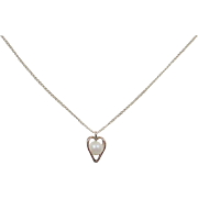 Vintage 14k Gold Cultured Pearl Heart Necklace ~ 18""