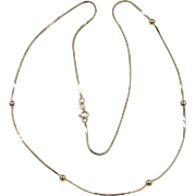 "Vintage 14k Gold Station Bead Necklace ~ 19 3/4"" ~ 2.2 Grams"