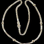 """Vintage 14k Gold Station Bead Necklace ~ 19 3/4"""" ~ 2.2 Grams"""