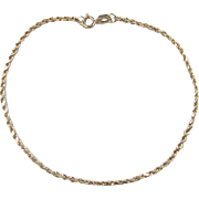 Vintage 14k Gold Diamond Cut Rope Bracelet ~ 7""