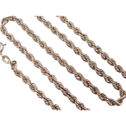"""Vintage 14k Gold Rope Chain ~ 16"""" ~ 7.8 Grams"""