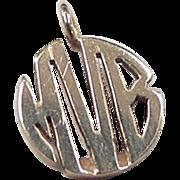 "Vintage 14k Gold Monogram Pendant ""MVB"""